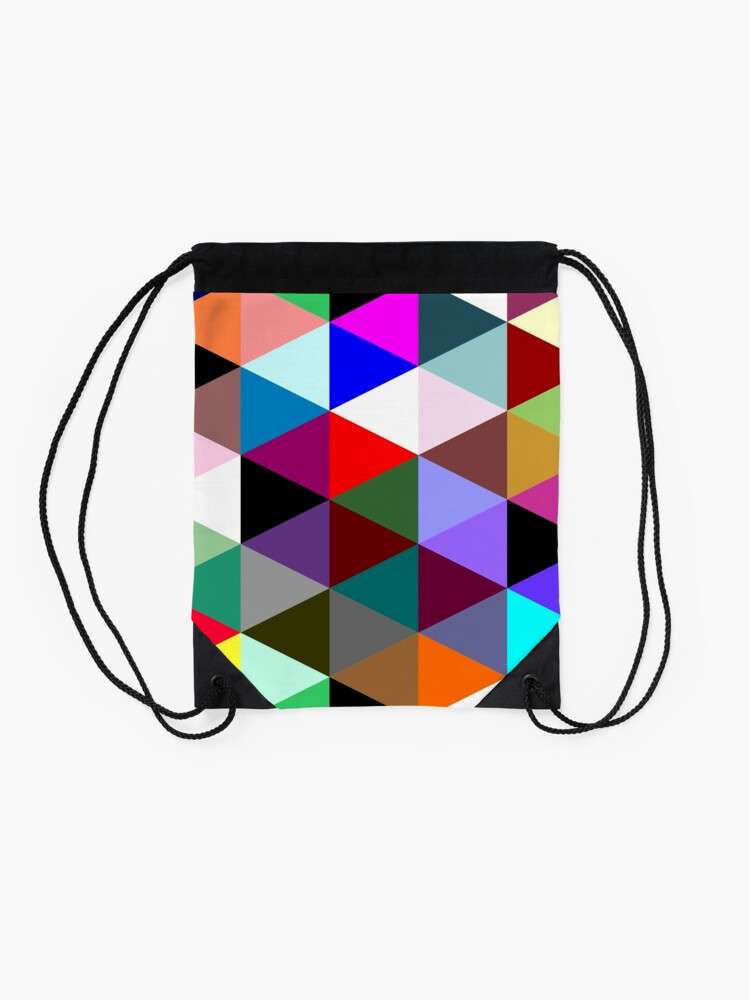 Alternate view of Colorful triangle pattern Drawstring Bag