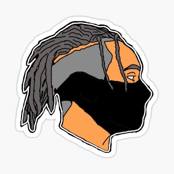 black mask man with black braids Sticker