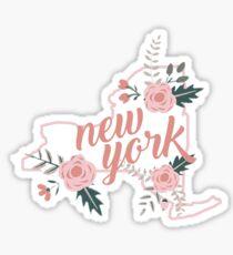 New York Floral State Sticker
