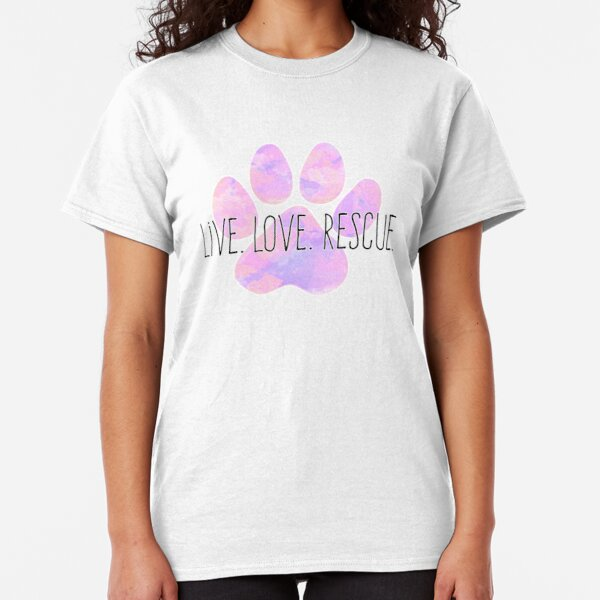 Live Love Rescue Dog Paw Classic T-Shirt