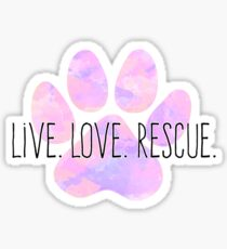 Live Love Rescue Dog Paw Sticker