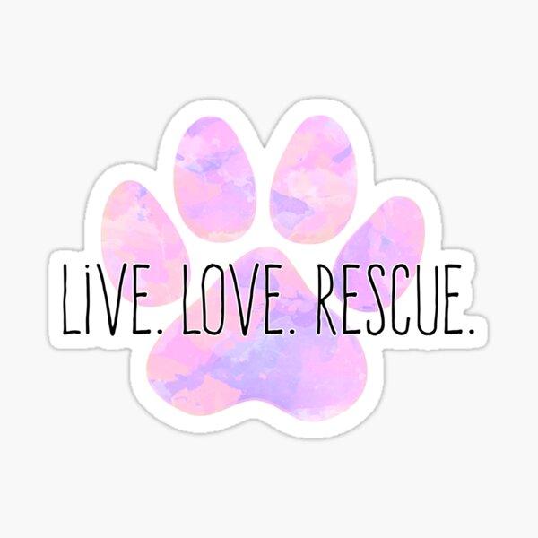 Live Love Rescue Dog Paw Sticker