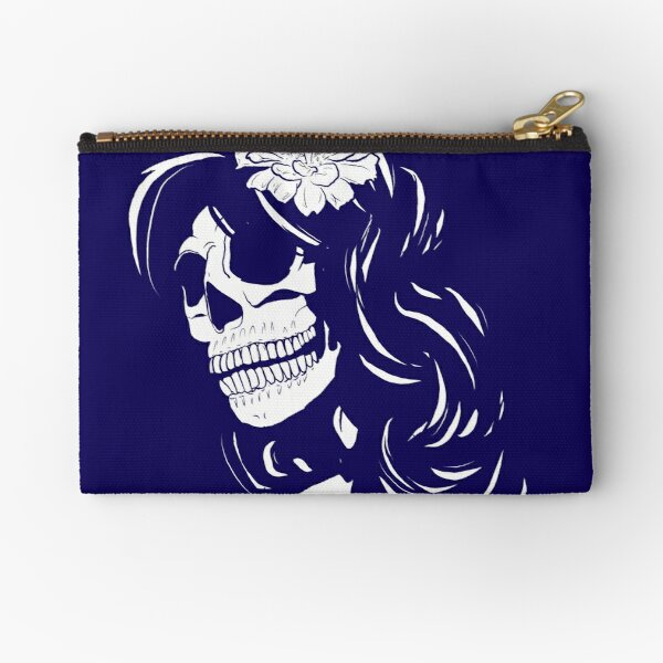 Skull woman blue  Zipper Pouch