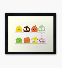 Funny cute cartoon birds Framed Print