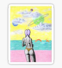 Beach alien bikini babe fantasy sea monster Sticker