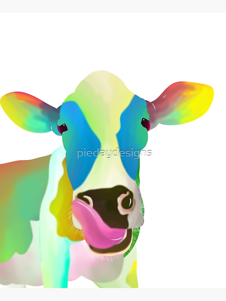 Colorful Cow by piedaydesigns