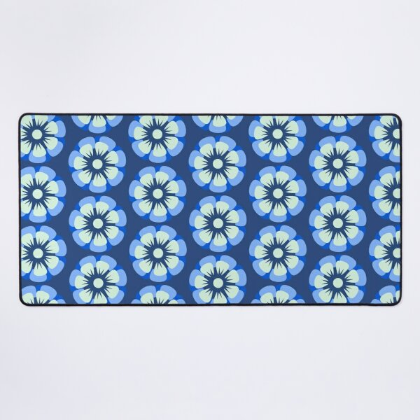 Blue And Green Floral Pattern Desk Mat