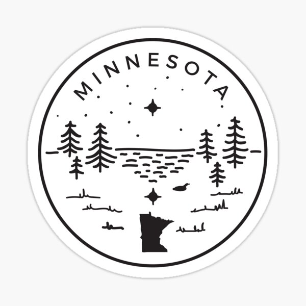 Minnesota Badge — North Star (Black/White) Sticker