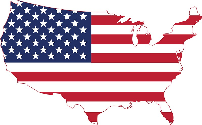 usa united states of america map flag stars and stripe by byrnecore