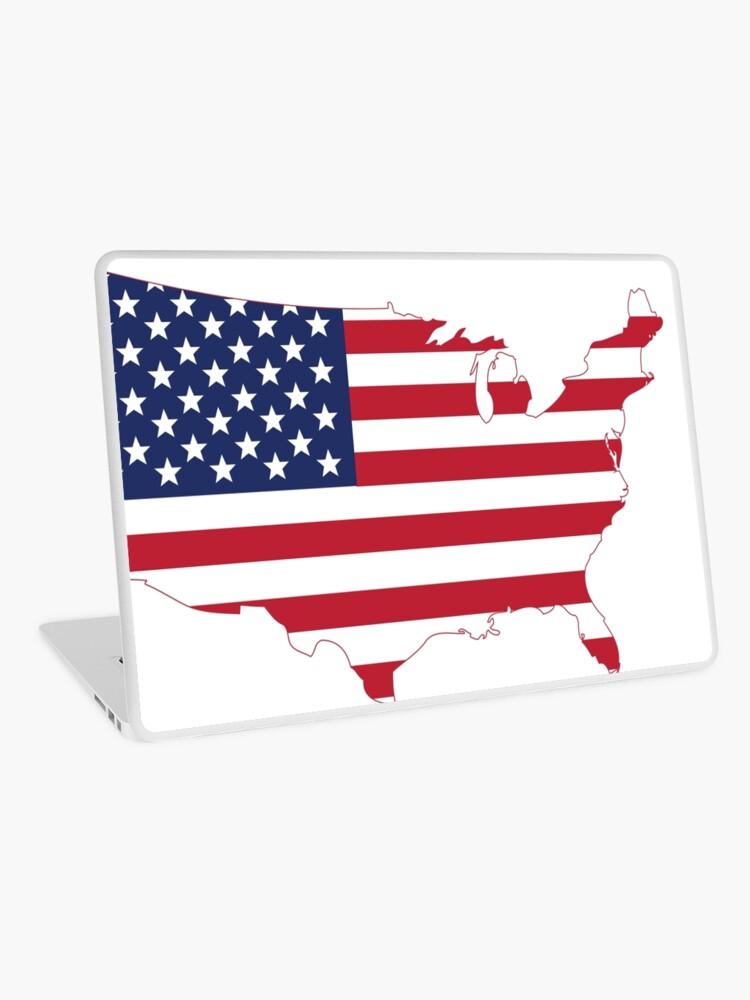 Usa Vereinigte Staaten Von Amerika Karte Flagge Sternen Und Streifen Laptop Folie Von Byrnecore Redbubble