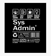 System administrator Funny T Shirt Unix Linux Beer Coffee Photographic Print