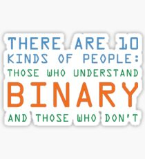 Funny Computer Nerd T-shirt, Binary Code Geek by Zany Brainy Sticker