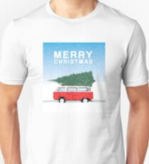 Bus and tree - Merry Christmas with snow T-Shirt