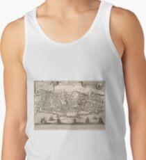 Camisetas de tirantes para hombre Mapa pictórico vintage de la ciudad de Nueva York (1672)