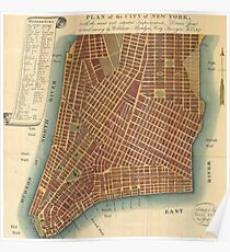 Póster Vintage Map of Lower New York City (1807)
