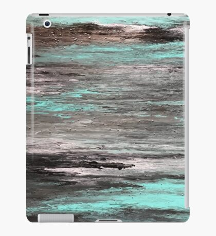 Acrylic pouring - teal, grey, white, black & copper iPad Case/Skin