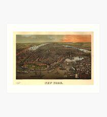 Lámina artística Vintage Pictorial Map of New York City (1873)
