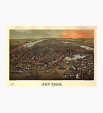 Lámina fotográfica Vintage Pictorial Map of New York City (1873)