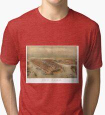 Camiseta de tejido mixto Vintage Pictorial Map of New York City (1874)