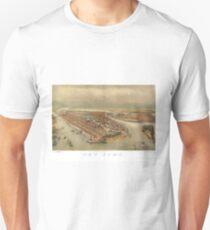 Camiseta unisex Vintage Pictorial Map of New York City (1874)