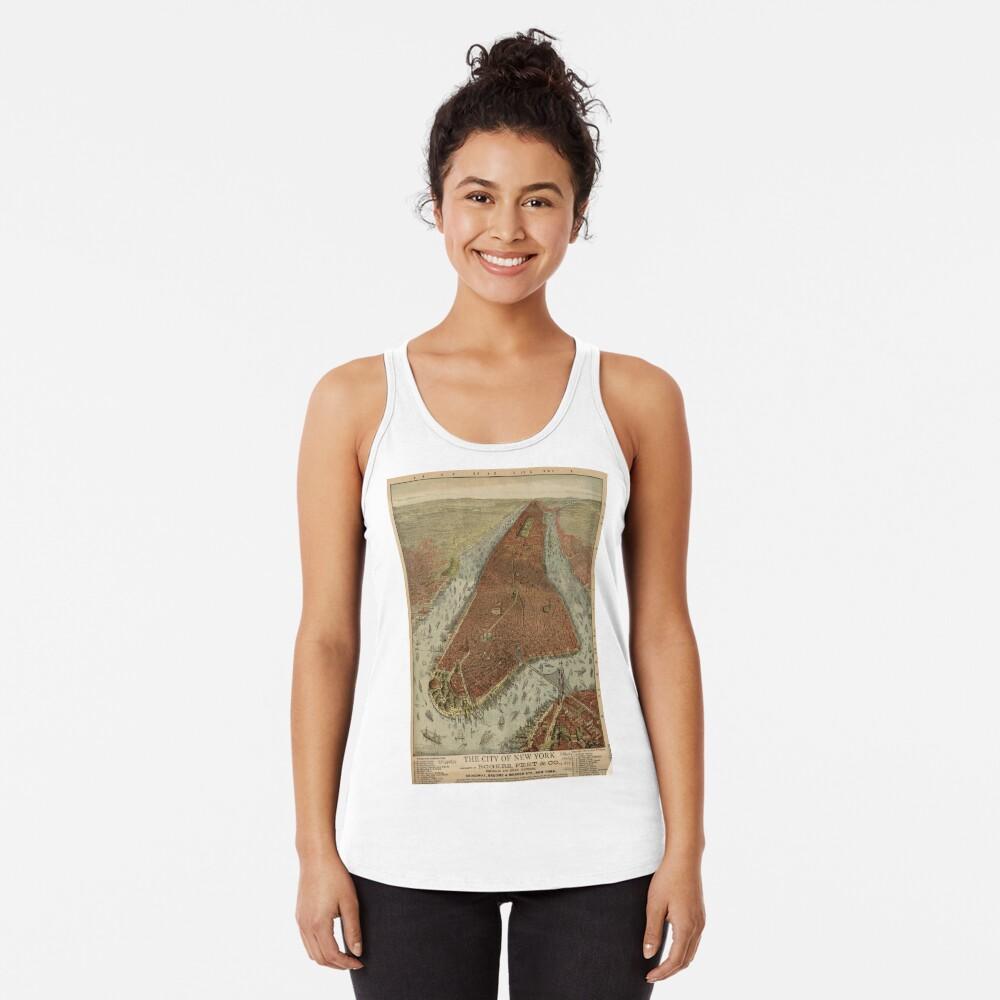 Camiseta de tirantes para mujerVintage Pictorial Map of New York City (1879) 2 Delante