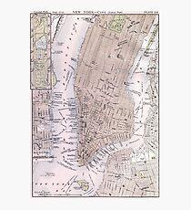 Lámina fotográfica Mapa vintage de la ciudad de Nueva York (1884)