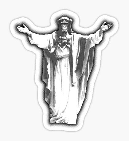 Jesus Chimp Sticker