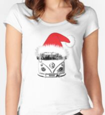 VW Camper Christmas hat Women's Fitted Scoop T-Shirt
