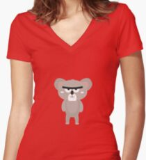 Big brow koala  Women's Fitted V-Neck T-Shirt