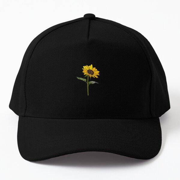 Aesthetic Sunflower on Black Baseball Cap