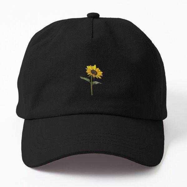 Aesthetic Sunflower on Black Dad Hat