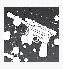 Han Solo Blaster Paint Splatter (White) Photographic Print