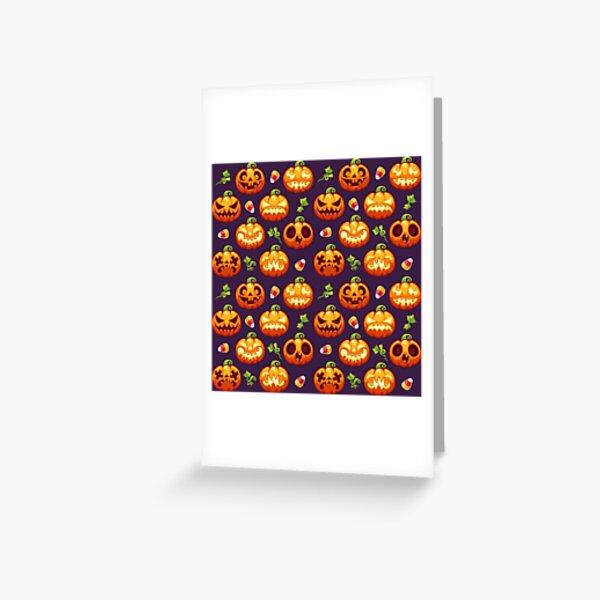 Halloween seamless pattern with pumpkins on dark Greeting Card