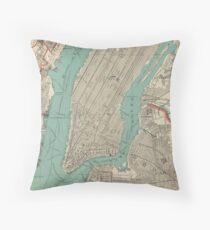 Cojín Mapa vintage de la ciudad de Nueva York (1890)