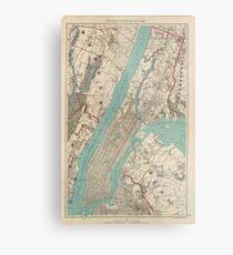Lienzo metálico Mapa vintage de la ciudad de Nueva York (1890)