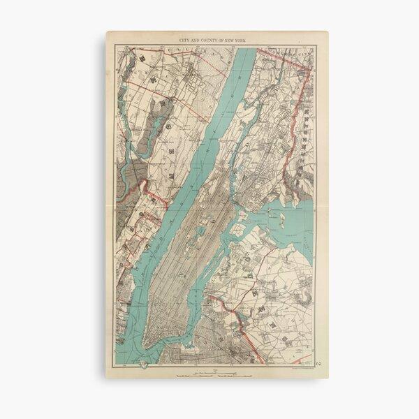 Vintage Map of New York City (1890) Metal Print