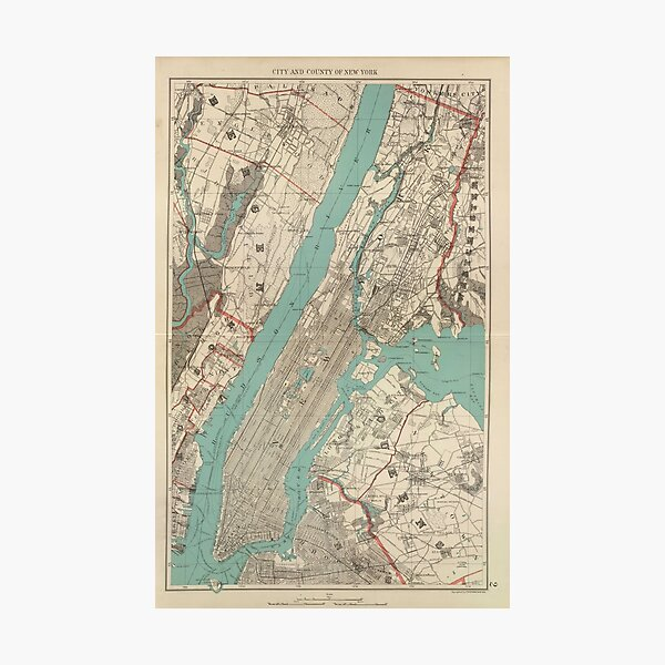 Vintage Map of New York City (1890) Photographic Print