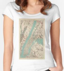 Vintage Map of New York City (1890) Fitted Scoop T-Shirt
