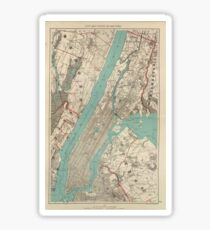 Vintage Map of New York City (1890) Sticker