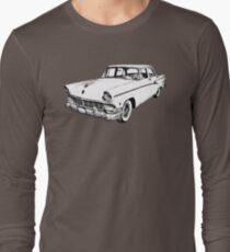 1956 Ford Custom Line Antique Car Illustration Long Sleeve T-Shirt