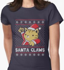 Xmas ugly sweater Cat Santa Claws Women's Fitted T-Shirt