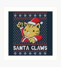 Xmas ugly sweater Cat Santa Claws Art Print