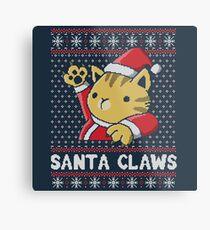 Weihnachtshässliche Strickjacke Katze Santa Claws Metalldruck