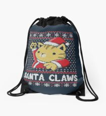 Xmas ugly sweater Cat Santa Claws Drawstring Bag