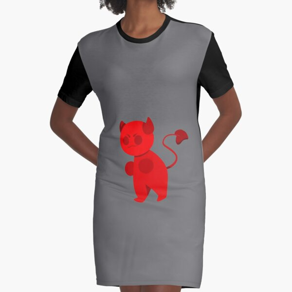Deal with the cute devil Graphic T-Shirt Dress