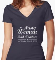 Nasty Woman and the Bad Hombres (White) Women's Fitted V-Neck T-Shirt
