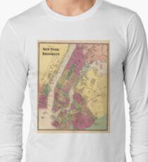 Camiseta de manga larga Vintage Map of NYC and Brooklyn (1868)