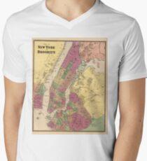 Camiseta para hombre de cuello en v Vintage Map of NYC and Brooklyn (1868)