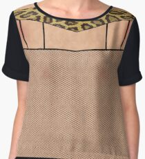 Fishnet Stockings and Leopard Skin Knickers Chiffon Top