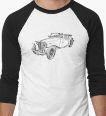 MG Convertible Antique Car Illustration Men's Baseball ¾ T-Shirt